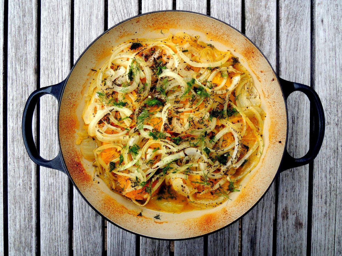 Vegetables, fennel, baked fennel with oranges 1