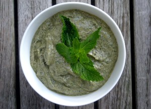 Condiments, herb sauces, mint mascarpone pesto 1