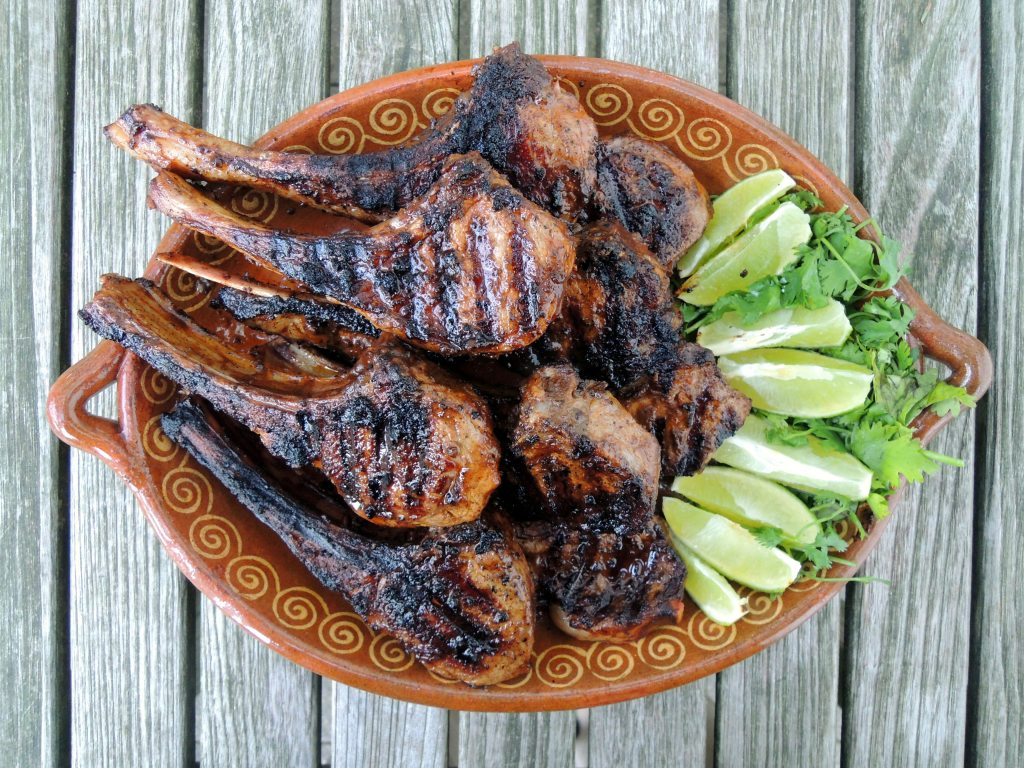 Lamb, pan-grilled rib lamb chops with red chile adobo 1