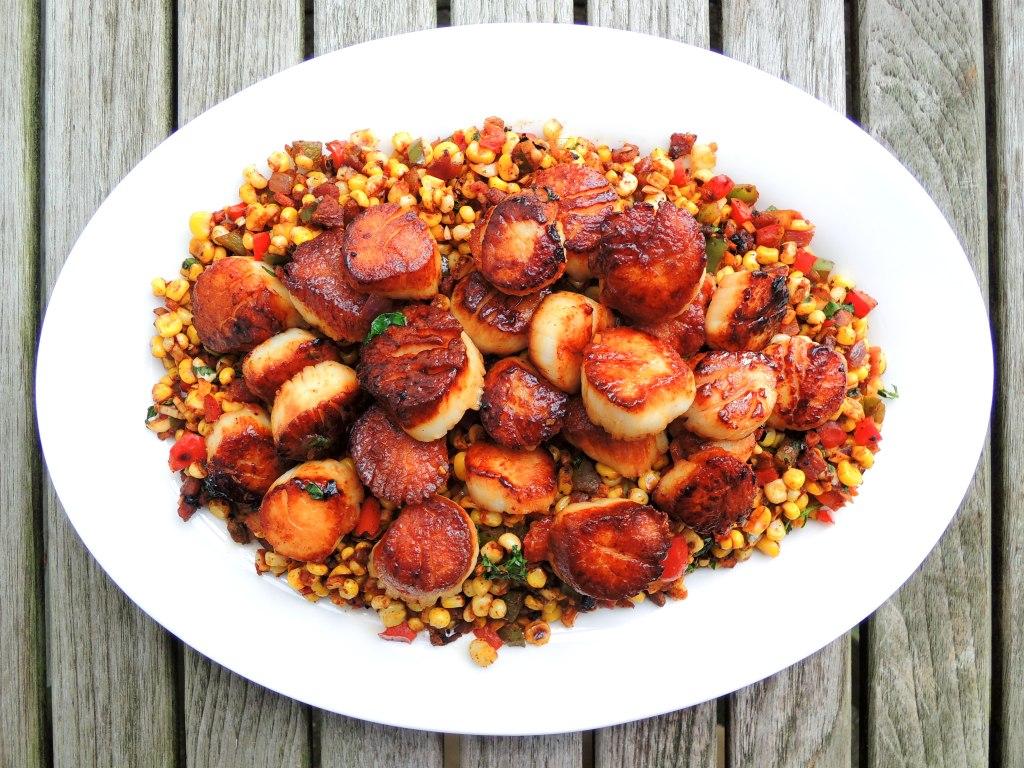 Scallops, pan-seared sea scallops with bacon corn relish 1