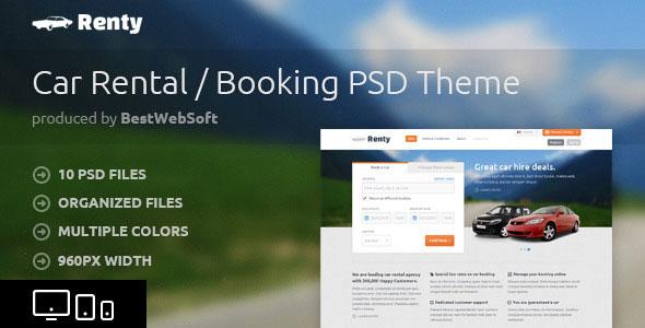 Renty — Аренда и бронирование автомобилей PSD Шаблон