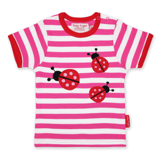 Toby Tiger Ladybird Applique Organic T-Shirt
