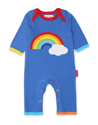 Toby Tiger Rainbow Cloud Applique Organic Sleepsuit