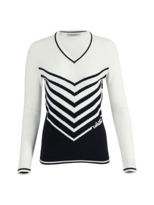 Navy And Ivory Knit Sweater