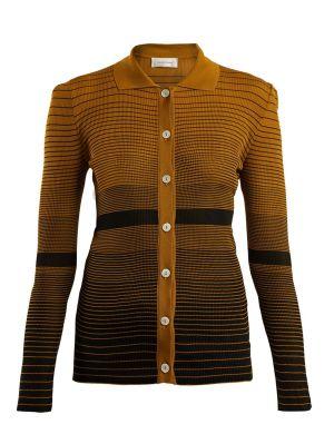 Spread-collar Striped-jacquard Cardigan