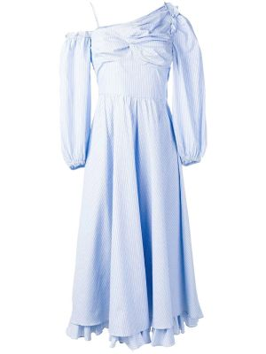 Pinstripe One Shoulder Dress