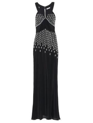 Black Embellished Silk-blend Gown
