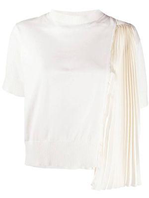 Chiffon-paneled T-shirt