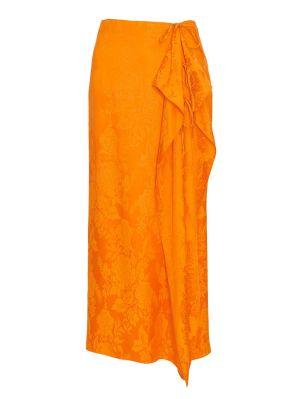 Orange Wrap Midi Skirt