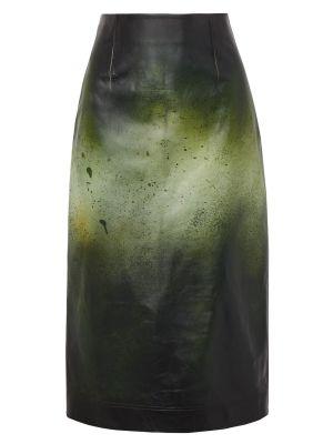 Printed Glossed-leather Midi Skirt