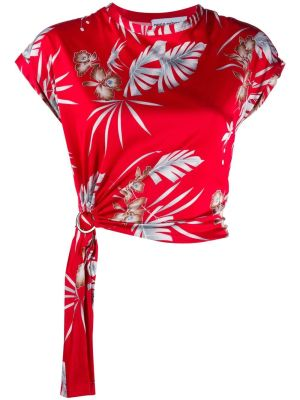 Red Foliage Floral Printed Top