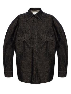 Black Cotton Denim Shirt