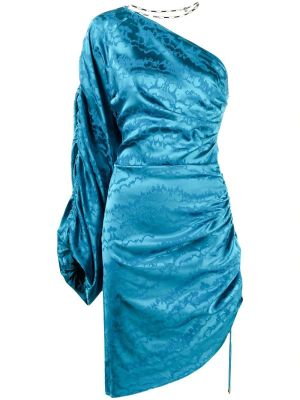 Blurred Jacquard Mini Dress, Lyons Blue
