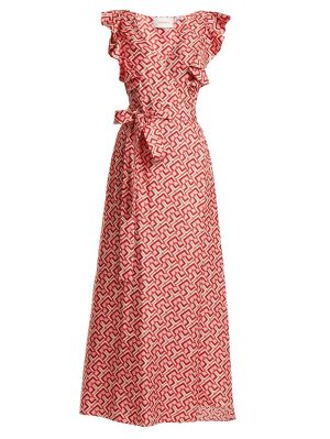 Wedding Guest Domino-print Cotton Dress