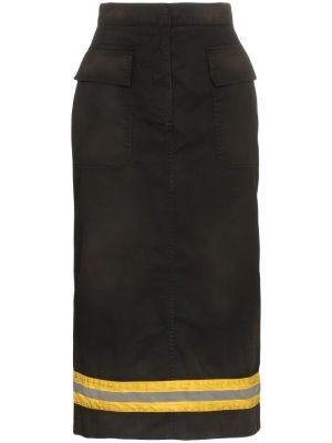 High-waist Reflective Stripe Midi Skirt