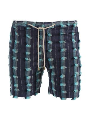 Blue Distressed Lounge Shorts