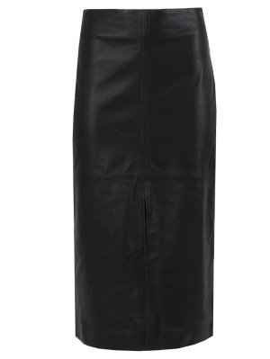 Front Slit Leather Pencil Skirt