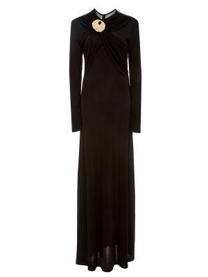 Black Draped Crepe Dress