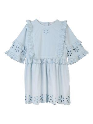 Kids Blue Broderie Anglais Dress