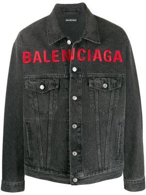 Washed Grey Logo Denim Jacket