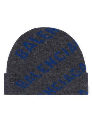 Grey Logo Print Beanie