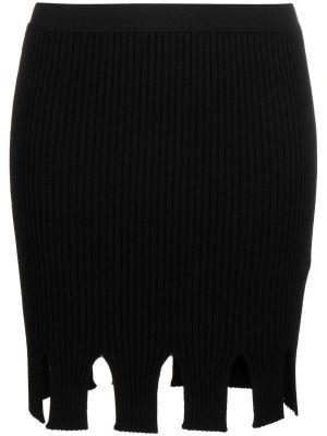 Black Ribbed Knit Skirt