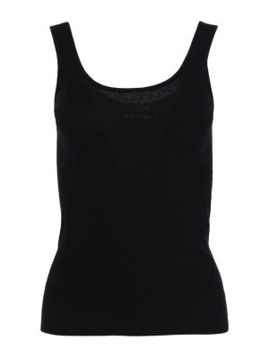 Black Ribbed Cashmere Tank Top
