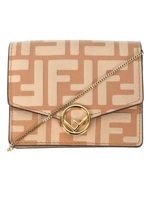 Leather Chain Wallet, Honey Beige