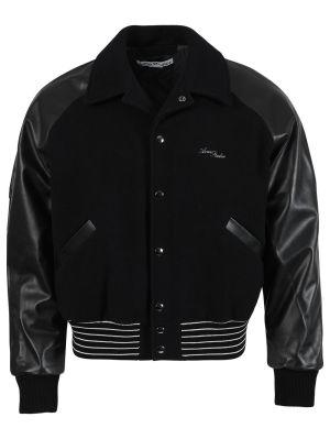 Leather Letterman Bomber