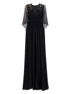 Black Embellished Evening Gown