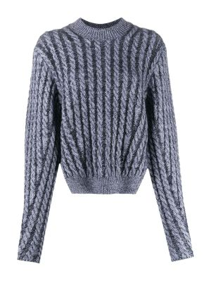 Two-tone Cable Knit Sweater