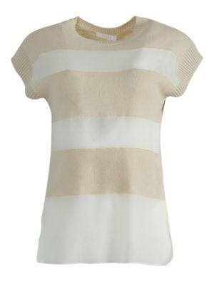 Ivory Striped Panel Top
