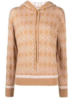 Jacquard Logo Motif Hooded Knit Jumper