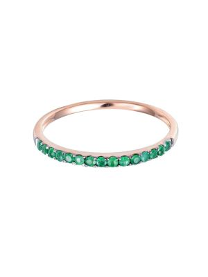 18k Rose Gold Emerald Half Eternity Ring