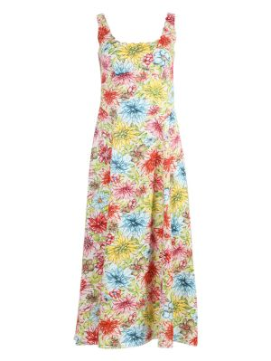 Multicolored Floral Mid-length Dress