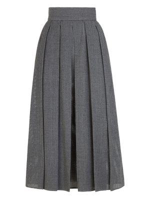 Grey Flannel Mesh Wool Midi Skirt