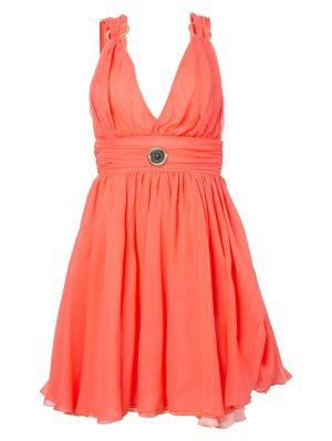 Pink Silk Mini Plunge Dress