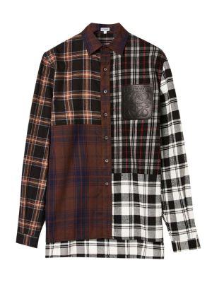 Check Print Patchwork Shirt