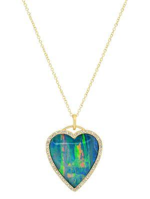 Opal And Diamond Heart Pendant