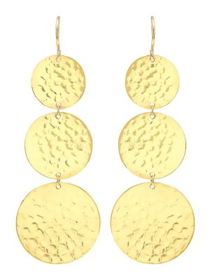 Graduated Large Hammered Disc Earrings