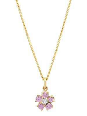 Sapphire With Diamond Center Large Flower Pendant