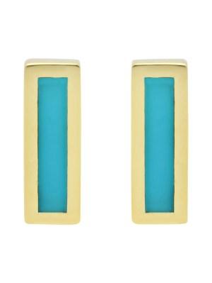 Turquoise Inlay Bar Stud Earrings