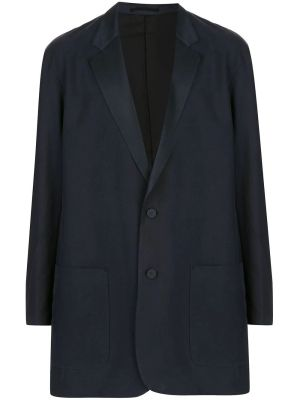 Navy Silk Long-line Blazer