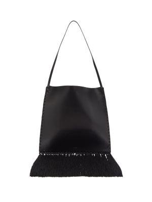 Black Border Fringe Tote Bag