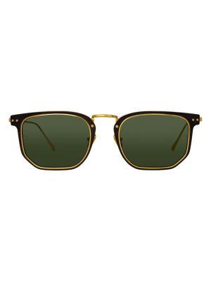 Green Saul Rectangular Sunglasses