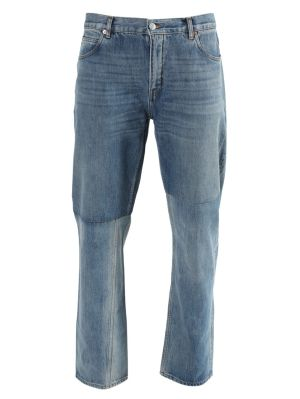 Two-tone Straight Leg Jeans Blue