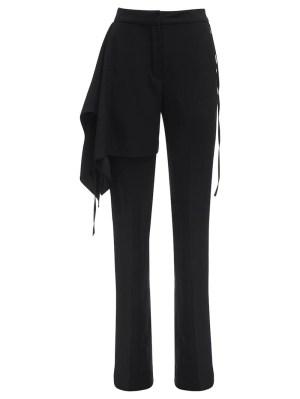 Black Draped Satin Pants