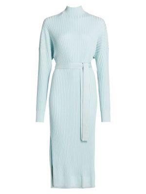 Light Blue Silk Cashmere Mid-length Dress