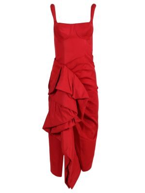 Red Side Ruffle Cocktail Dress