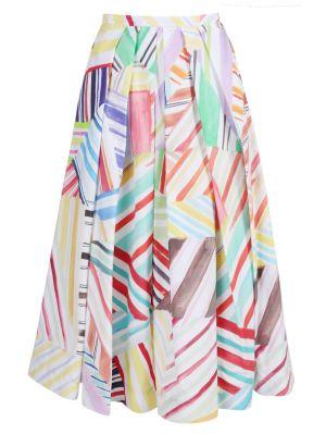 Watercolor Print Pleated Skirt
